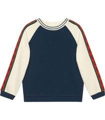 gucci blue and white sweatshirt with red side bands