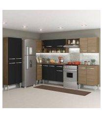 cozinha completa de canto reto madesa emilly moon com armário e balcão 15 portas 1 gaveta rustic/preto rustic/preto