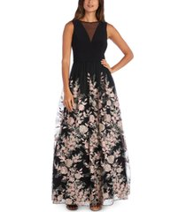morgan & company juniors' mesh embroidered gown