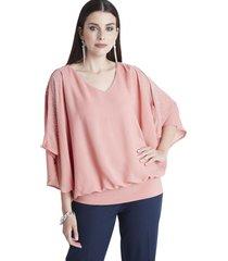 blusa con aplicación de brillos rosa lorenzo di pontti
