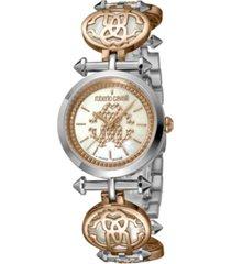 roberto cavalli by franck muller women's swiss quartz silver-tone stainless steel bracelet watch 28mm
