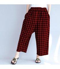 zanzea verano de las mujeres flojas de la tela escocesa pantalones largos de algodón a cuadros harem rojo -rojo