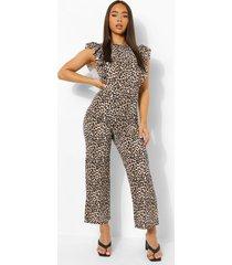 luipaardprint jumpsuit met geplooide mouwen, brown