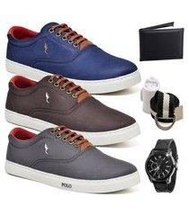 kit 3 pares sapatênis polo blu casual azul/café/cinza acompanha cinto + meia + carteira + relógio