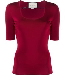 gucci buckle strap ribbed t-shirt - red