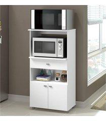 balcão multimóveis multiuso forno e microondas branco ref. 4060g 2 portas e 1 gaveta branco