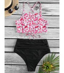 watermelon print high waisted tankini swimwear