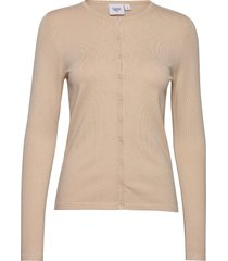 a8661, l/s cardigan r-neck stickad tröja cardigan beige saint tropez