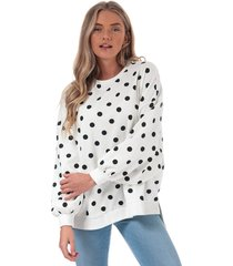 only womens chili dot crew sweatshirt size 12-14 in white