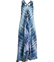 beach lunch lounge women's maxwell tie-dye maxi dress - aster aura - size s