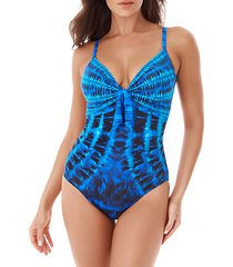 beach goes on tie-dye one-piece swimsuit