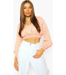 korte geruite blouse met lange mouwen en knopen, nude