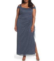 plus size women's alex evenings cold shoulder glitter column gown