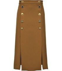 pinko decorative buttoned skirt - brown