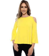 blusa b'bonnie ombro vazado mirela amarela