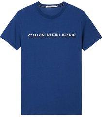 camiseta de algodón orgánico con logo azul calvin klein