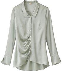 chique blouse uit biologische zijde, bleekgroen 46