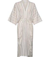 dress w. draped skirt and v-neck knälång klänning creme coster copenhagen