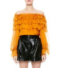 women's alice + olivia ersa ruffle tiered silk blouse
