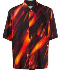 aries flame-print short sleeved shirt - black