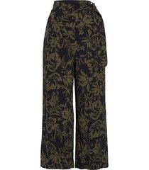 women's chelsea28 floral print crop wide leg pants, size 14 - black