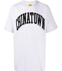 chinatown market corduroy logo cotton t-shirt - grey