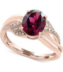 effy rhodolite garnet (2-1/3 ct. t.w.) & diamond (1/8 ct. t.w.) ring in 14k rose gold