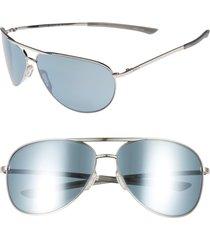 smith serpico slim 2.0 65mm chromapop(tm) polarized aviator sunglasses in silver/platinum polar at nordstrom