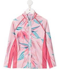 duskii girl mila printed swim top - pink