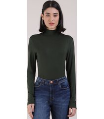 blusa feminina básica manga longa gola alta verde escuro