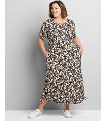 lane bryant women's perfect sleeve ruched side midi dress 38/40 cheetah print