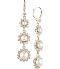 marchesa gold-tone imitation pearl & crystal triple drop earrings