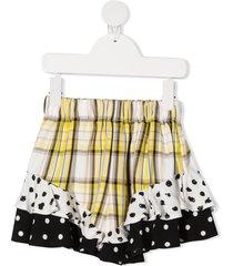 raspberry plum mix-print ruffled shorts - yellow