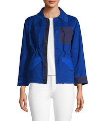 colorblock frayed jacket