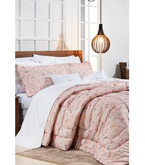edredom bernadete king borboletas algodão percal 200 fios sicília 3 peças - rosa