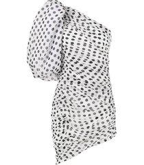 giuseppe di morabito one shoulder polka dot silk dress - white