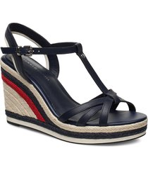 tommy stripy high wedge sandalette med klack espadrilles blå tommy hilfiger