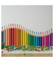 adesivo de parede quartinhos lapis de cor onda amarelo/rosa