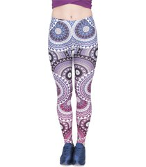 women legins mandala ombre blue printing legging fashion casual high waist woman