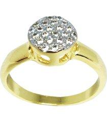 anel kumbayá chuveirinho pequeno semijoia banho de ouro 18k cravação de zircônia detalhe em ródio