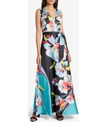 tahari asl satin printed maxi dress