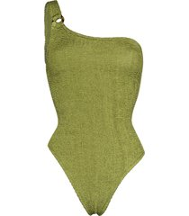 hunza g nancy one-shoulder crinkle-effect swimsuit - green