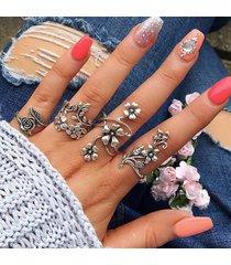 set anello di fiore traforato in lega zinco