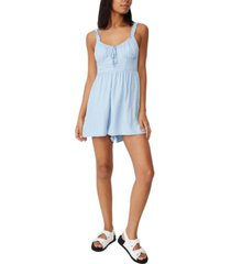 women's woven chelsea button up check playsuit