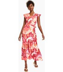 bar iii flutter-sleeve wrap maxi dress, created for macy's