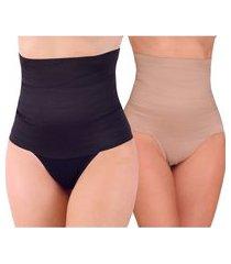 kit 3 calcinha cintura alta cinta modeladora zero barriga multicolorido