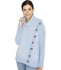 sweater manga larga liso celeste curvi