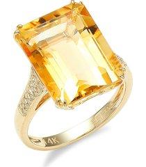 effy women's 14k yellow gold, diamond & citrine cocktail ring/size 7 - size 7