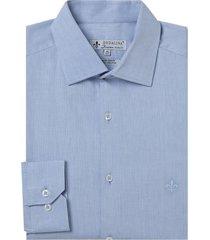 camisa dudalina manga longa fio tinto maquinetada masculina (branco, 48)