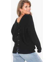 nly trend v-back lace up knit stickade tröjor